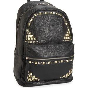 Black FAUX Leather STUDDED Backpack Bethany MOTA